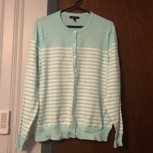 Mint green / white striped cardigan